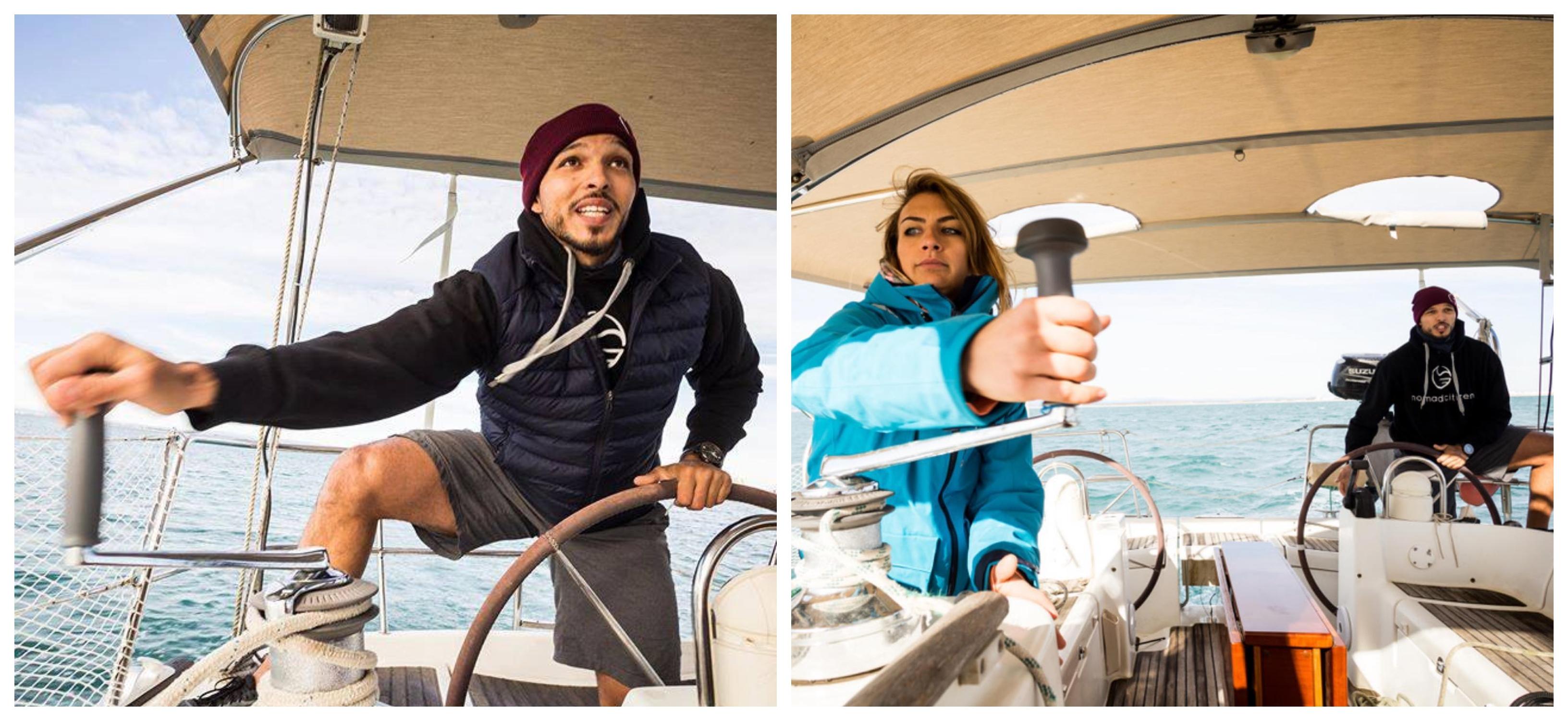 Marvi et Dani en train de faire des manoeuvres sur le voilier, Photo: Sailing Nomad Citizen