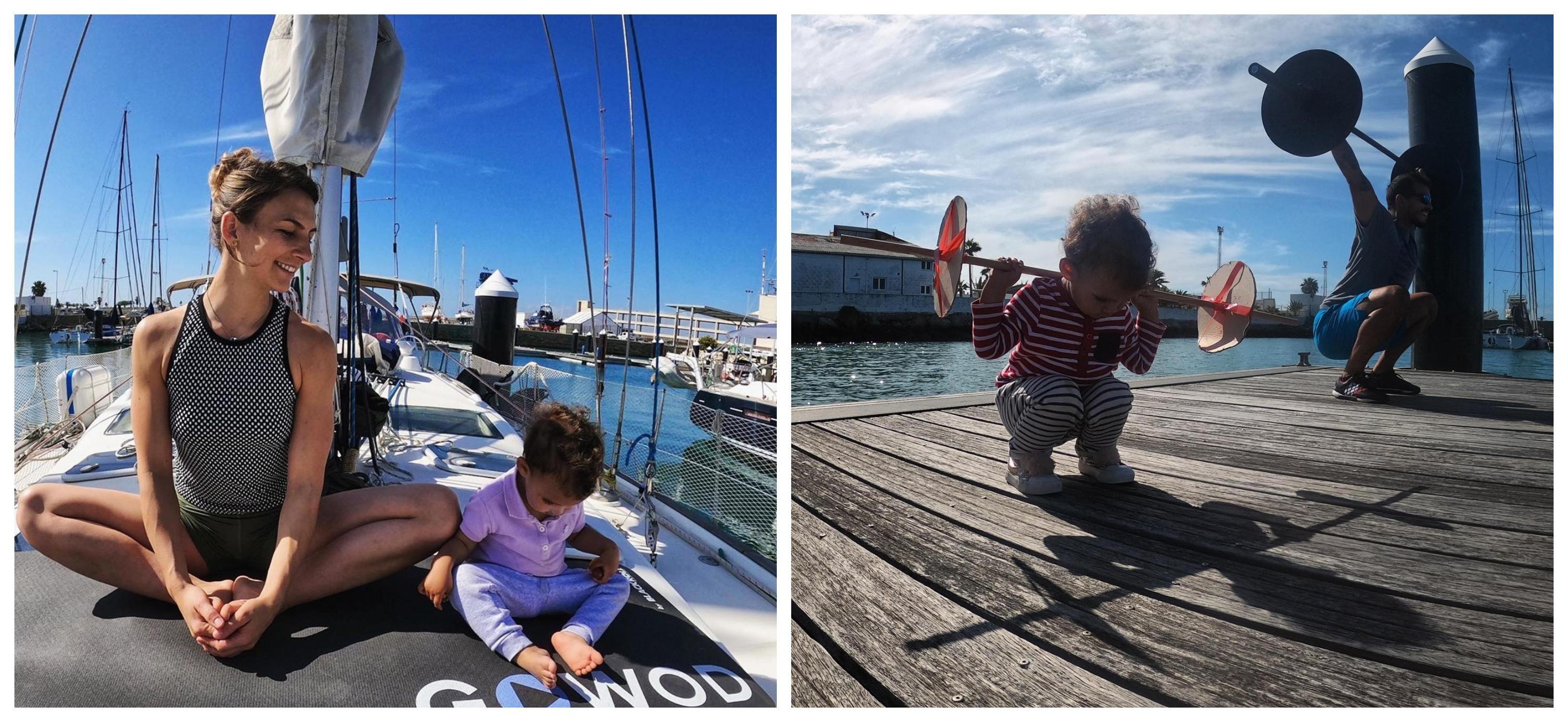 Marvin, Daniela et Bébé Tara en pleine séance de sport matinal. Photo: Sailing Nomad Citizen