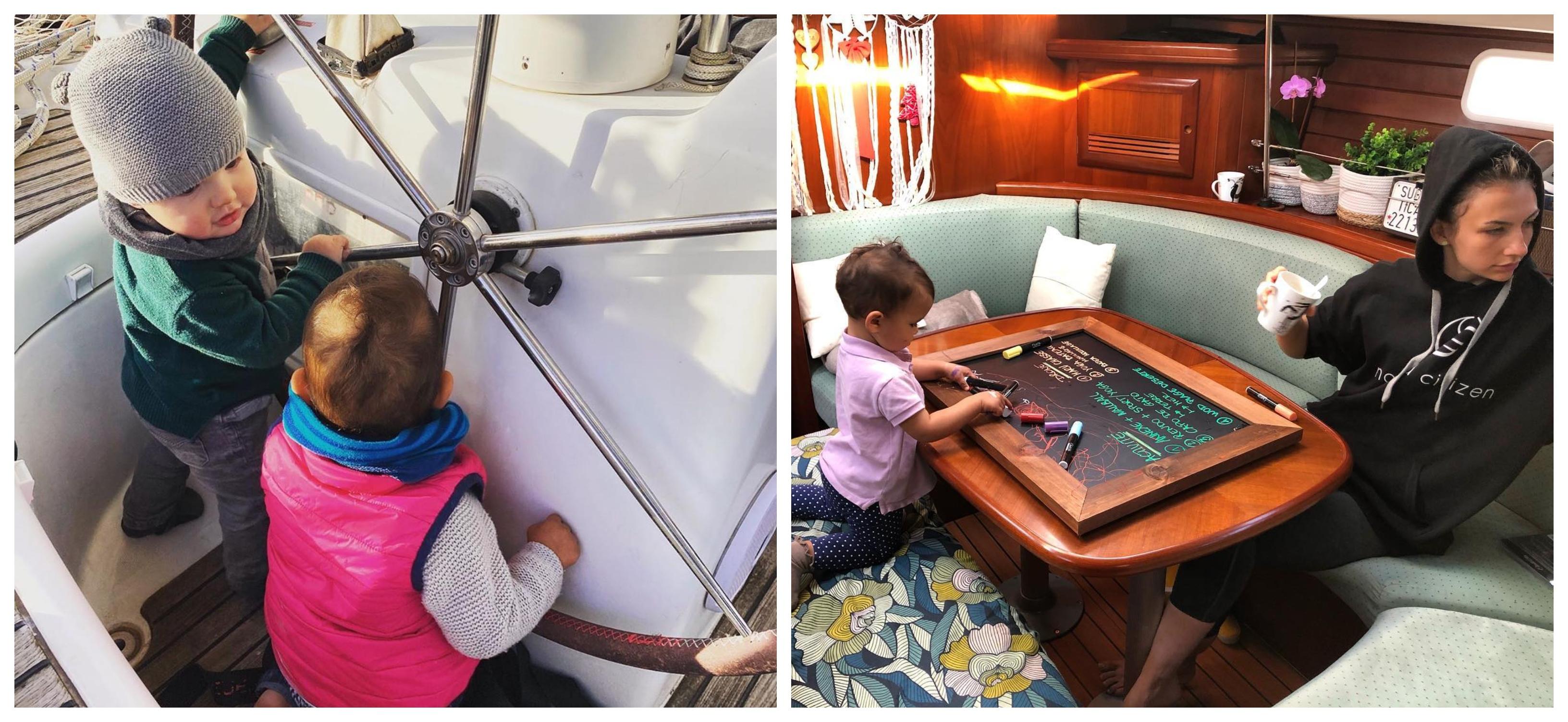 Bébé Tara et un autre enfant en train de s'amuser avec la barre, Photo: Sailing Nomad Citizen