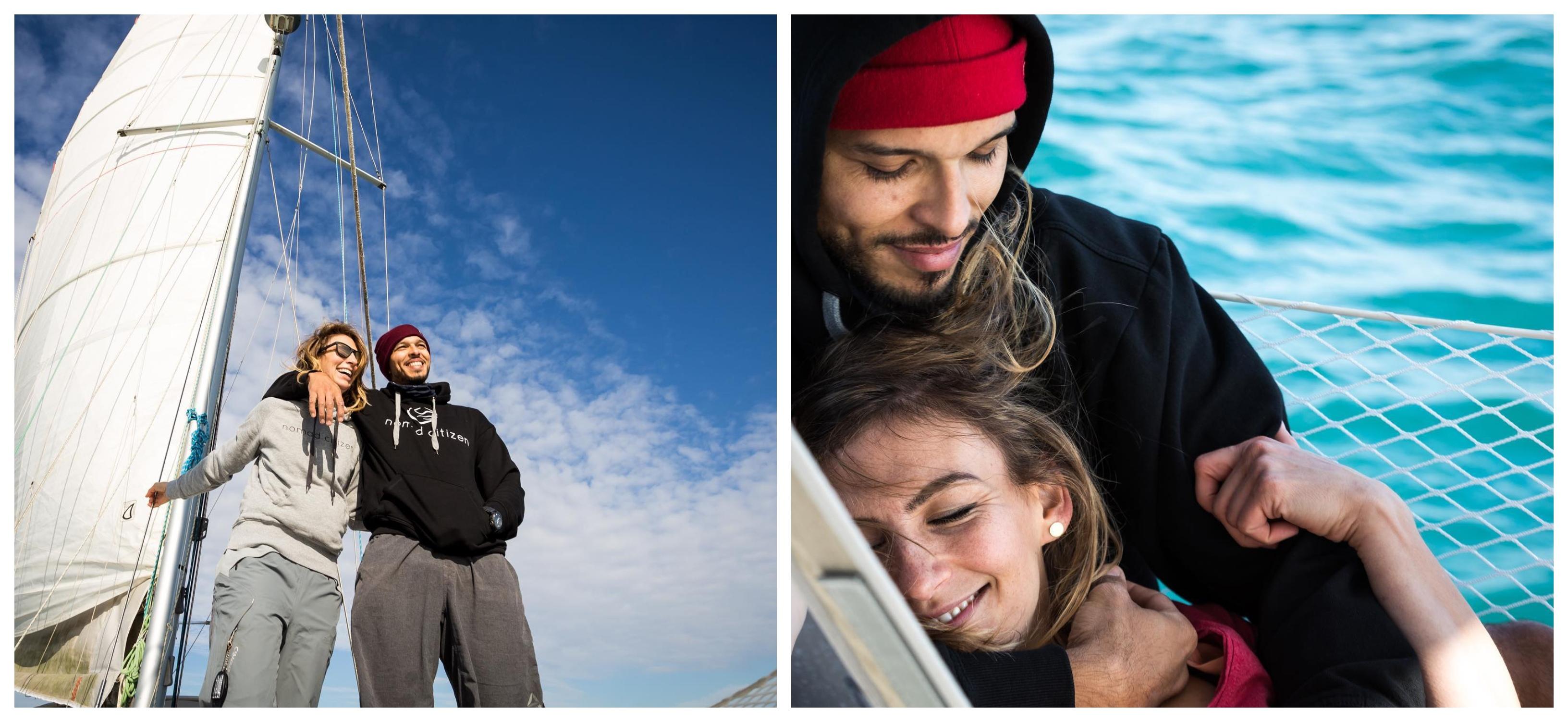 Marvin et Tara à bord de leur Océanis 473, Photo: Sailing Nomad Citizen