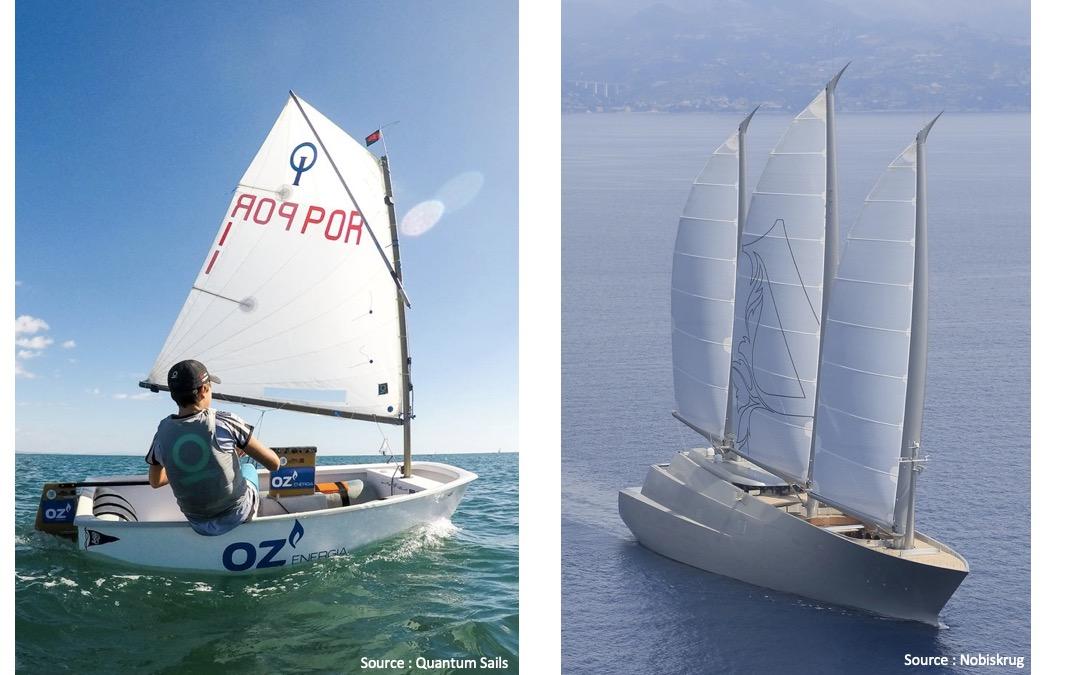 Deux voiliers, l'optimist et le superyacht A